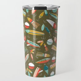 Fishing Lures Green Travel Mug