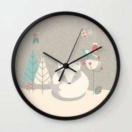 Christmas baby fox 05 Wall Clock