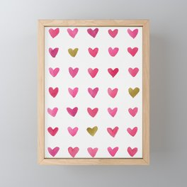 Watercolor Hearts - Pink, Red and Gold Framed Mini Art Print