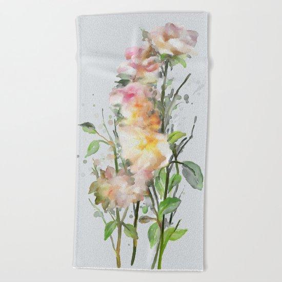 Wild roses, watencolors Beach Towel