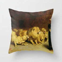 Daniel In The Lions Den 1872 By Briton Riviere Throw Pillow