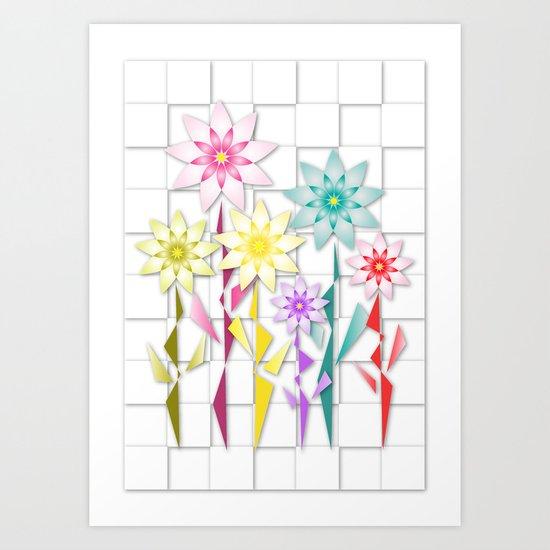 Origami  Flowers Art Print