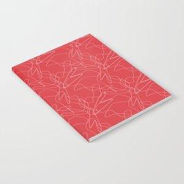 Poppy Red White Lines Modern Pattern  Notebook