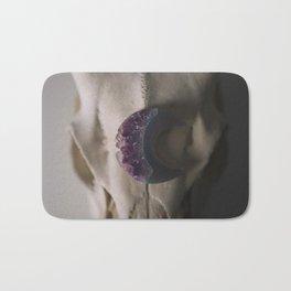 Amethyst Crystal Crescent Moon on Deer Skull Bath Mat