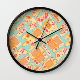 Video Game Controllers in Retro Colors Wall Clock