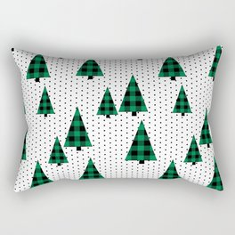 Christmas Tree forest minimal scandi dots plaid patterned holiday winter Rectangular Pillow