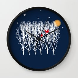 Red Doves and the golden moon Wall Clock
