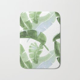 Tropical Leaves Green And Blue Bath Mat