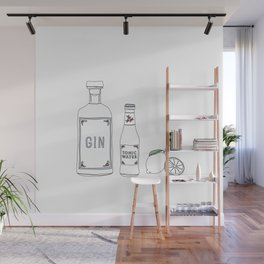 Gin tonic and lime illustration Wall Mural