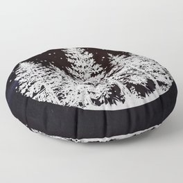Trees in a Winter Forest Floor Pillow