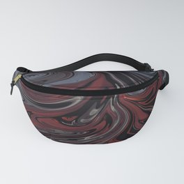 Grey & Red Abstract Painting Fanny Pack