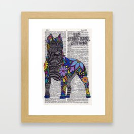 Whimsical Pitbull Dancing on Words Framed Art Print