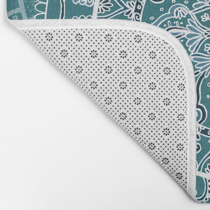Detailed Teal and Blue Mandala Pattern Bath Mat