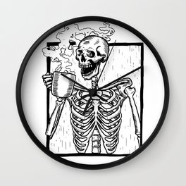 Skeleton Drinking a Cup of Coffee Wall Clock