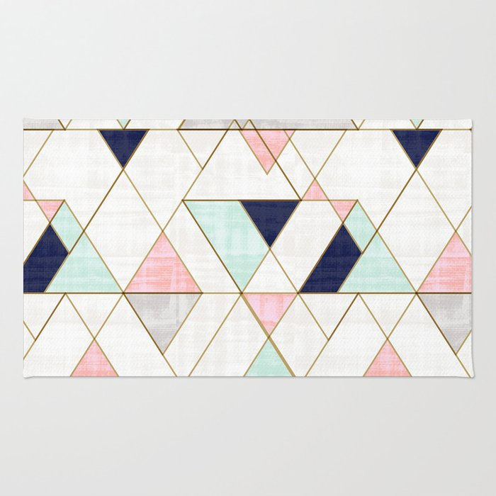 Mod Triangles - Navy Blush Mint Rug