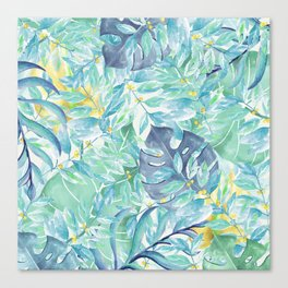Modern teal green yellow watercolor tropical leaves Canvas Print