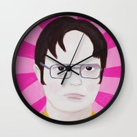 dwight schrute Wall Clocks featuring Dwight by kate gabrielle