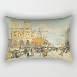 Figures on a Sunny Parisian Street, Notre Dame by Eugene Galien Laloue Rectangular Pillow