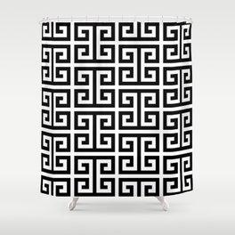 Large Black and White Greek Key Pattern Shower Curtain