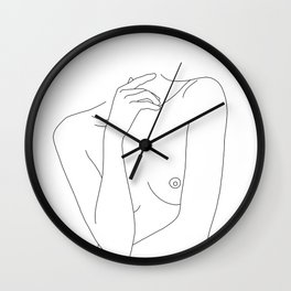 Woman's body line drawing - Cecily Wall Clock