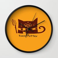 potter Wall Clocks featuring Furry Potter  by MerryLittleDoodle