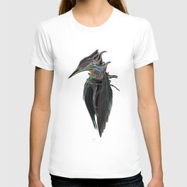 Kingfisher 1d. Color lines on black background-(Red eyes series) T-shirt