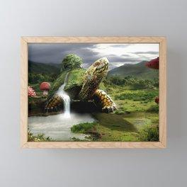 Fantasy Turtle Fantasy Animals Artistic Field Green Mushroom Framed Mini Art Print