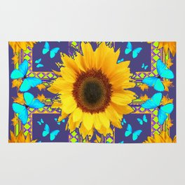 Turquoise Butterflies & Yellow Sunflower Puce-Grey Art Rug