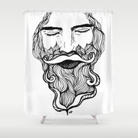 beard Shower Curtains featuring Beard  by Holly Harper