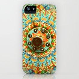 Rainbow Painted Cart Wheel Mandala iPhone Case