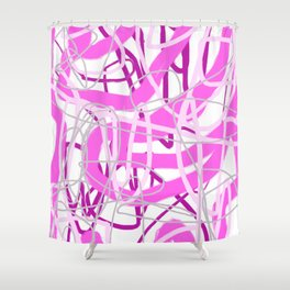 Pink & White Wiggle Digital Abstract Painting Shower Curtain