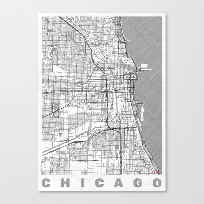 Chicago Map Canvas.Chicago Map Line Canvas Print By Hubertroguski Society6
