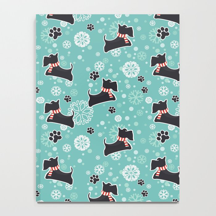 Snowy Scottie Dog Christmas Pattern Notebook