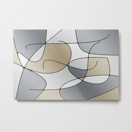 ABSTRACT CURVES #1 (Grays & Beiges) Metal Print