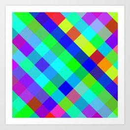 Checkered Colour - Geometric, Colour, Checkered Pattern Art Print