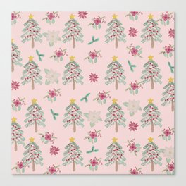Christmas Pattern Pink Canvas Print