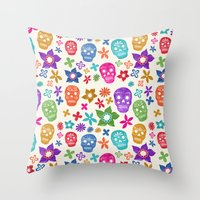 sugar skulls Throw Pillows featuring Sugar Skulls by Emmyrolland