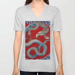 "Hokusai, "" Japanese dragon ""(Ceiling painting) Unisex V-Neck"