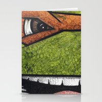 teenage mutant ninja turtles Stationery Cards featuring Michaelangelo (Teenage Mutant Ninja Turtles) by chris panila