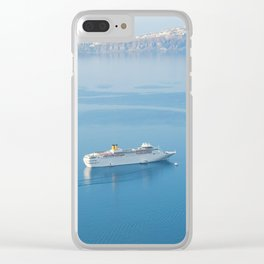 Cruise liner at the sea near Santorini island, Greece Clear iPhone Case