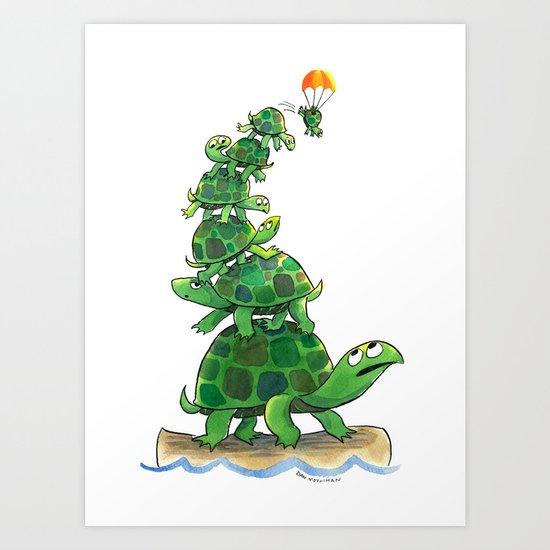 Teetering Turtle Tower Art Print