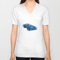 subaru V-neck T-shirts featuring Subaru Impreza by Claeys Jelle Automotive Artwork