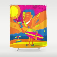 surfer Shower Curtains featuring Surfer by Roberlan Borges