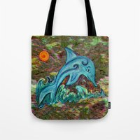 dolphin Tote Bags featuring Dolphin by gretzky