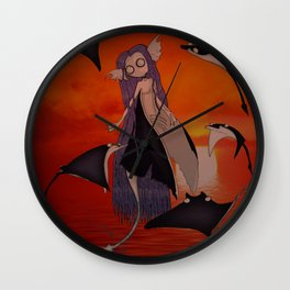 Monstrous Mermaids-The stingray Mermaid at sunset Wall Clock