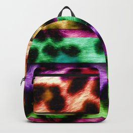 Multicolor Leopard Print Colorful Stripes Backpack