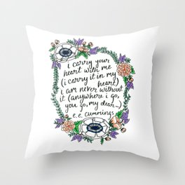 Hand-lettered e.e. cummings quote with floral wreath Throw Pillow
