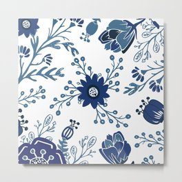 Porcelain Flowers Metal Print