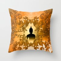 buddha Throw Pillows featuring Buddha  by nicky2342