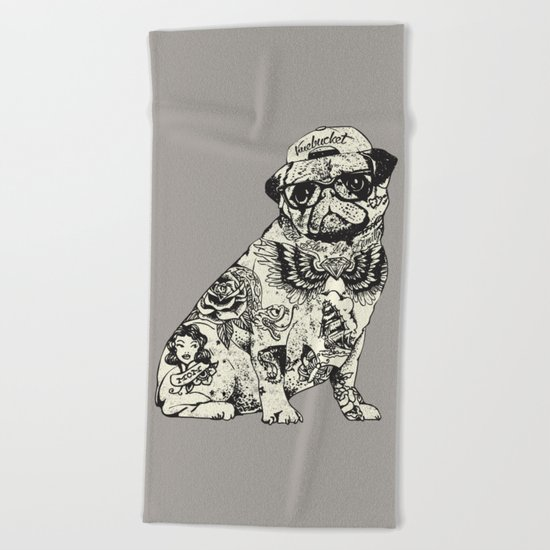 Pug Tattoo Beach Towel